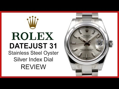 ▶ Rolex DATEJUST 31: Stainless Steel, silver index Dial, smooth domed Bezel, Oyster - REVIEW 178240