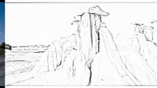 Auto Draw 2: Badlands Formations, Theodore Roosevelt National Park, North Dakota