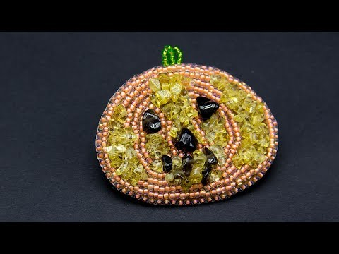 Detailed tutorial How to make a brooch Halloween Pumpkin with beads and gems
