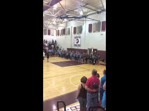 Odell Elementary performs National Anthem at Harold E Winkler Middle School