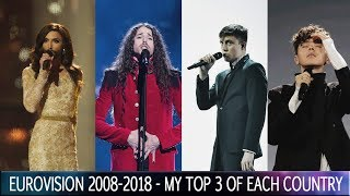 Eurovision 2008 - 2018 - My Top 3 of each country