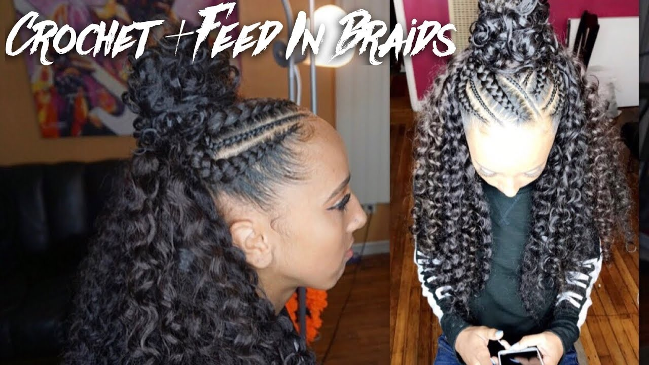 hair style braids half up half crochet braids 3855