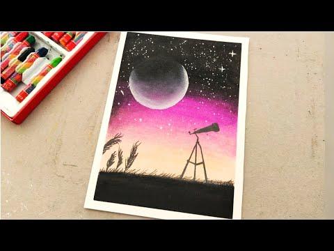 Pastel boyadan çok kolay galaksi ay çizimi nasıl yapılır? Pastels drawing art