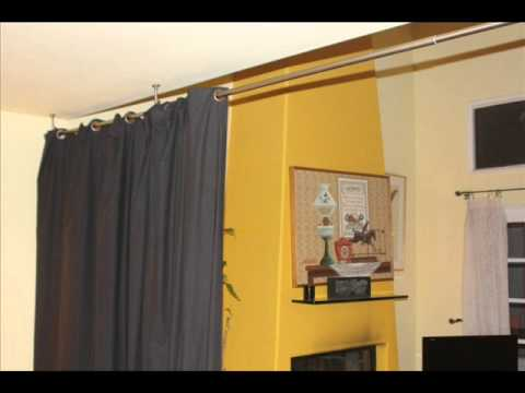 Black Room Divider Fabric Curtain Bedroom