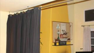 Black Room Divider Fabric Curtain; Bedroom Divider Curtains, Modern Room Divider Screens