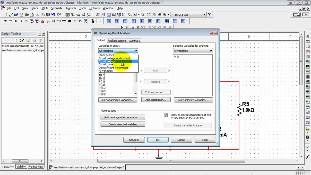 Ni Multisim Find Node Voltages With Dc Operating Point Analysis This Schematic Is Presented In 7 Simulation Format