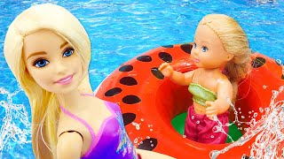 Barbie Baby and Barbie Water Fun: Swimming Pool, Waterslide, and Jacuzzi