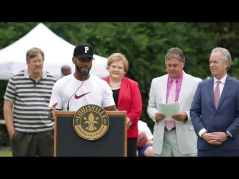 Hip-hop artist Bryson Tiller speaks at new Louisville basketball courts