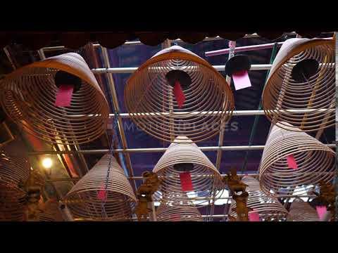 Hong Kong Man Mo Temple Incense Stock Footage