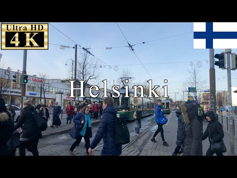 🇫🇮Helsinki Winter Walk - around Helsinki Central Station - 【4K 60fps】