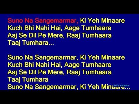 Suno Na Sangemarmar - Arijit Singh Hindi Full Karaoke With Lyrics