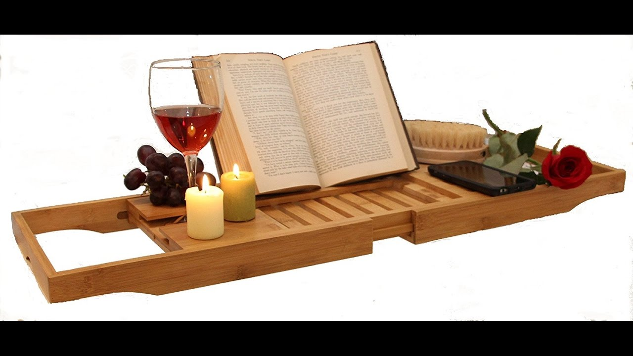 BATH CADDY TRAY BAMBOO BOOK HOLDER EXTEND TUB JACUZZI WOOD LUXURY by ...