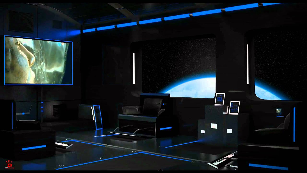 3d Max Future Space Living room with trailer. - YouTube