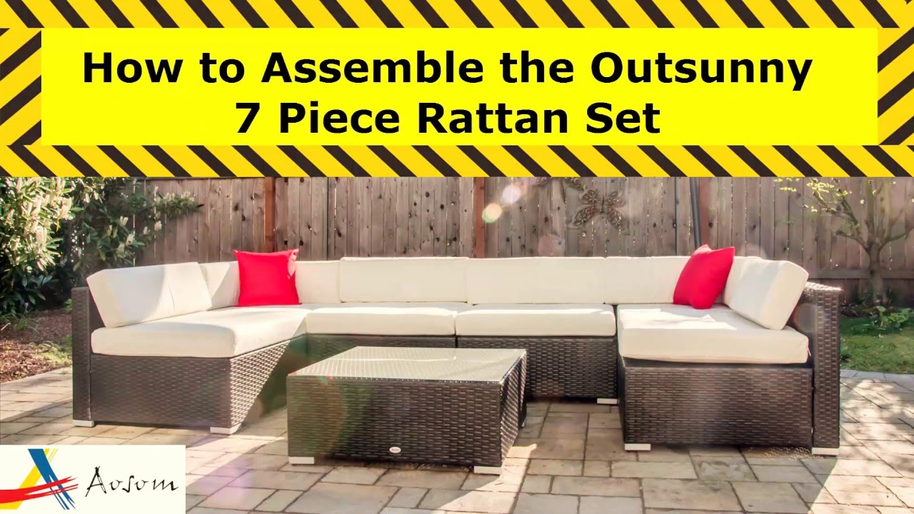 Owen 5 Piece Rattan Sofa Set With Cushions How To Assemble The Outsunny 7 Piece Rattan Set Aosom Assemblers Series