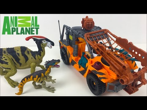 ANIMAL PLANET - DINOSAUR INVASION WITH PARASAUROLOPHUS ORNITHOLESTES JEEP FOSSIL & TRAP - UNBOXING