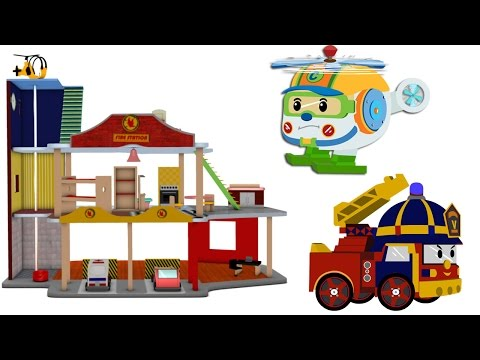 Thumbnail: fire station for children - police car cartoon for children - Fire trucks for kids - fire truck