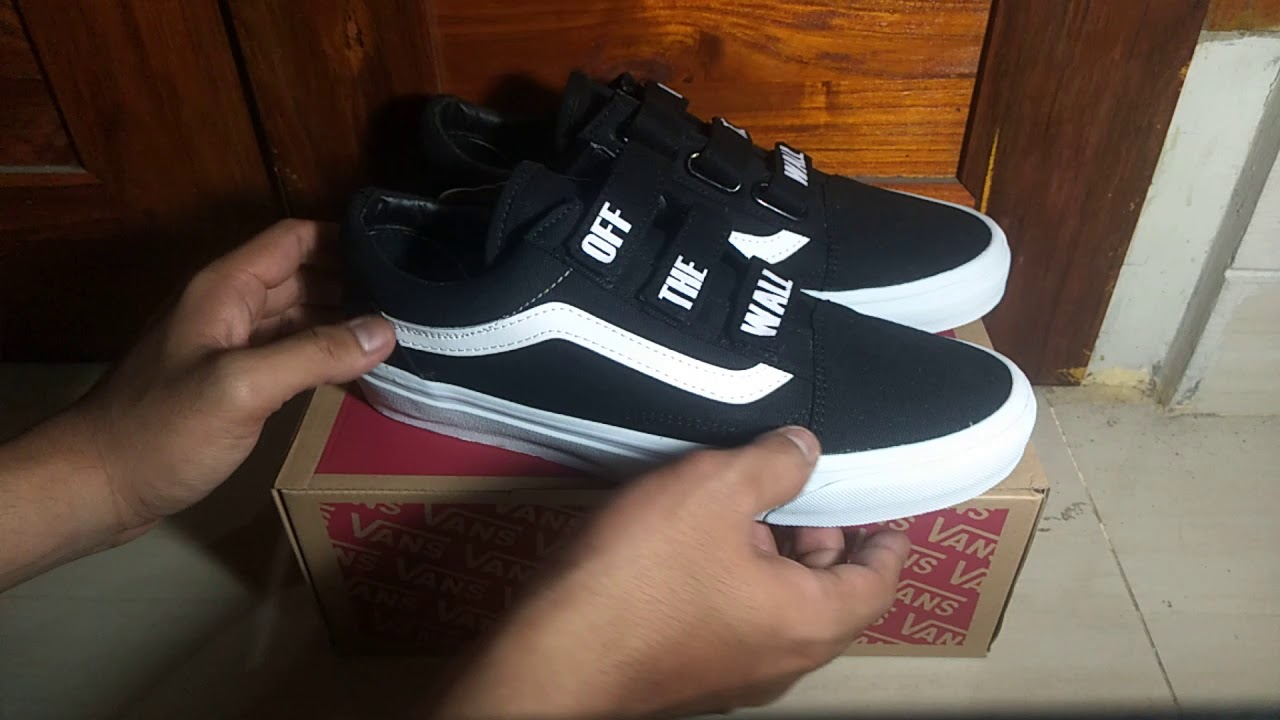 57d9812e51e Vans Old Skool Velcro Off The Wall Black White Premium High Quality ...