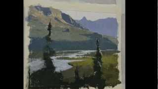How to paint mountains, water and trees