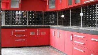 Red colour Texture Finishing For Ramya Modular Kitchen,  Mr. Hamar Purasaivakkam,