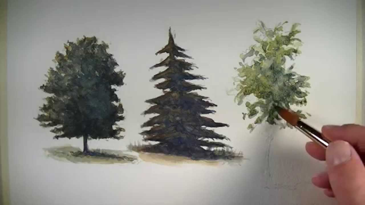 how to paint trees with watercolor youtube. Black Bedroom Furniture Sets. Home Design Ideas