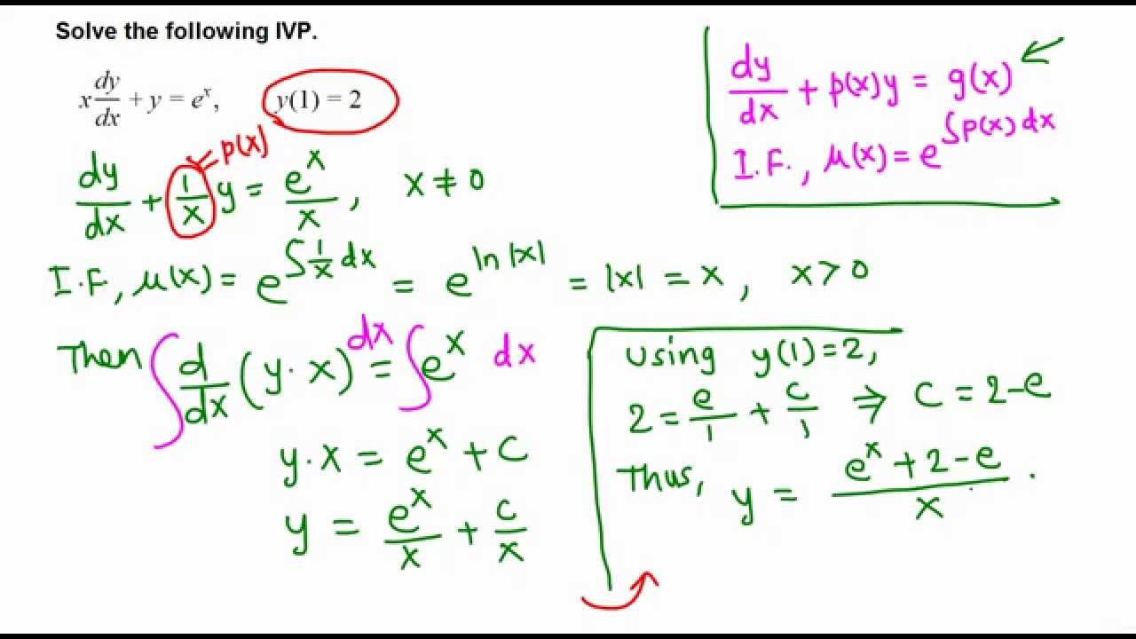 Ivp First Order Linear Differential Equation Example 1