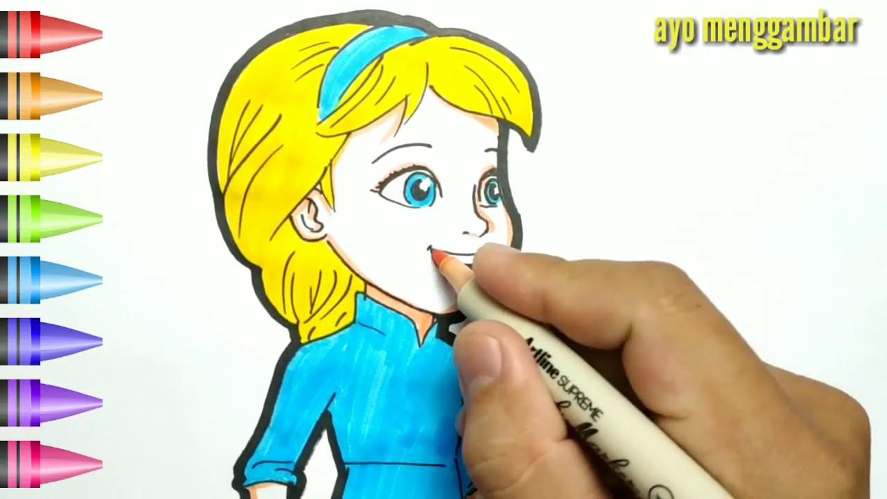 Mudahnya Belajar Cara Menggambar Dan Mewarnai Elsa Frozen Kecil Untuk Anak Indonesia Youtube