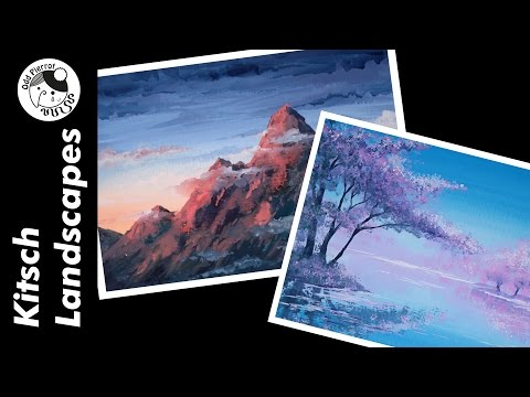 SPEEDPAINT ★ Gouache Clip #12 ☆ Kitsch Landscapes
