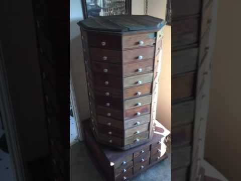 C1903 American Bolt & Screw Co. Octagonal Wooden Cabinet 98 Drawers