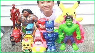 Giant LOL Surprise Egg Opening With Tayo The Little Bus, Super Heroes, Pj Masks Toys For Kids