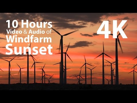 4K UHD 10 Hours - Wind farm with audio for ambience - relaxation, meditation, nature