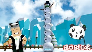 The biggest Snowman!! -With Panda Roblox Snowman Simulator
