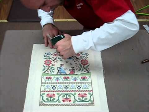 How To Frame A Cross Stitch - Demo Of Needlework Framing - YouTube