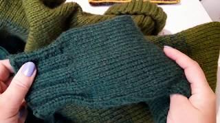 Вяжем рукава реглан сверху после подреза. Убавления в рукаве.