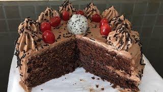 Chocolate Cake With Choco Butter Cream | Moist & Eggless Cake
