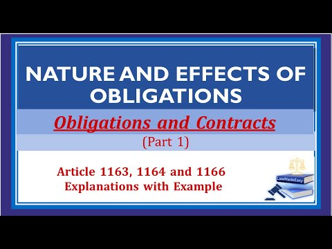 Part 1. Nature and Effects of Obligations. Obligations and Contracts.