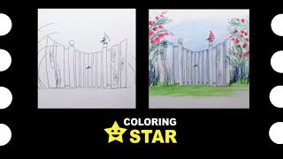 How to draw cartoon fence 🚧  Drawing and Coloring cartoonish fence. Coloring Star - Family channel.