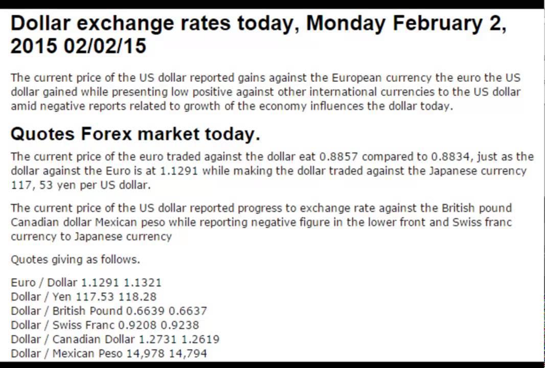Dollar Exchange Rates Prices Today Monday February 2 2017 02 15