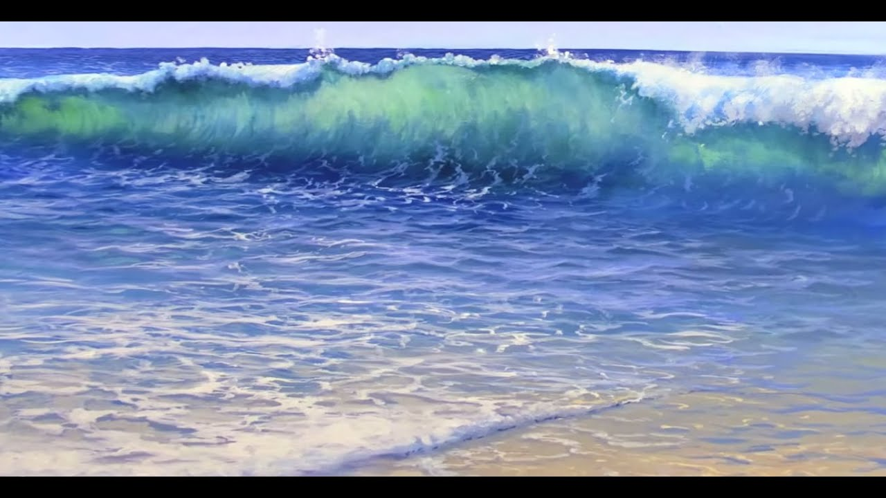 How to paint water on a beach mural joe youtube for Beach mural painting