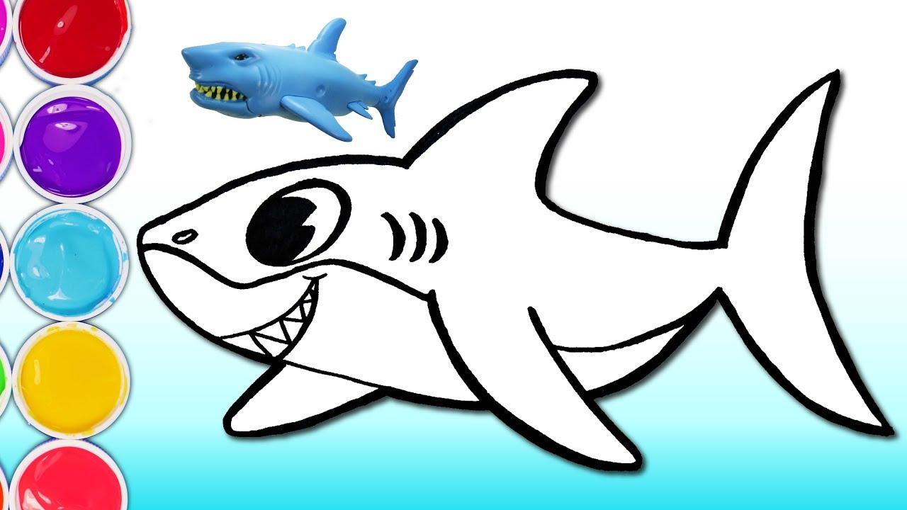 Cómo Dibujar y Colorear Tiburón - Dibujar Pescado de Tiburón de Arco ...