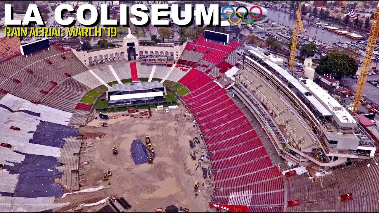 Will Usc S La Coliseum Construction Finish On Time Mud Rain Aerial Tour March 19 Youtube