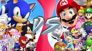 MARIO vs SONIC! TOTAL WAR!! PART 1!!! Rewind Rumble & Cartoon Fight Club !