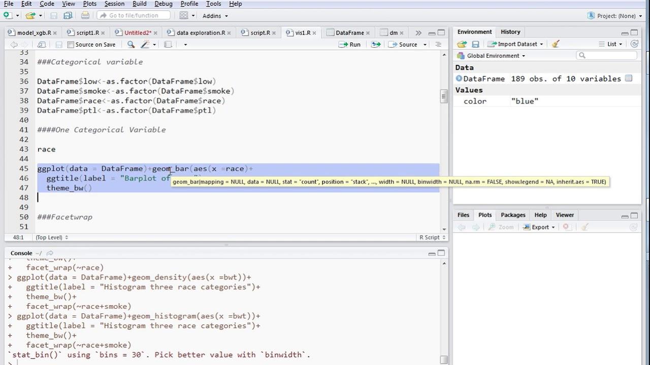 Barplot-For One Categorical Variable using ggplot2 in R