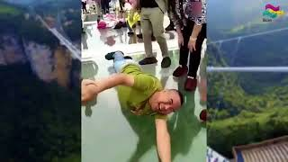 China Glass Bridge - Crack Effect Funny Moments on Glass Walkway