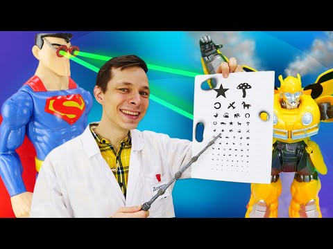 Видео про супергероев. Супермен у Доктора Ой! Робот Трансформер Бамблби нуждается в топливе!