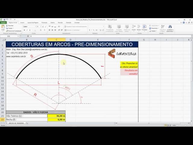 Tabela de Pré-Dimensionamento de Arcos de Madeira