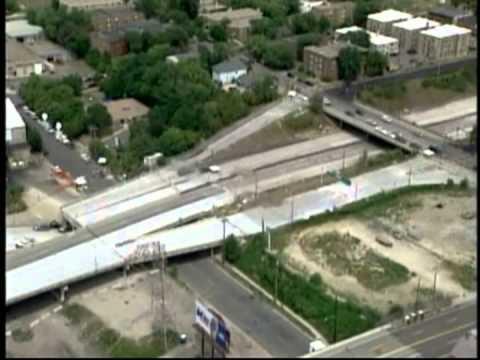 Aerials of Minneapolis I-35W Mississippi River Bridge Collapse (2007)