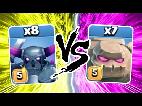 Clash Of Clans - SUPER HEAVY WEIGHT FIGHT!! - MAX PEKKA vs MAX GOLEM CoC 2016!