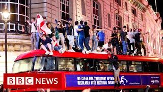 England celebrates Euro 2020 semi-final victory against Denmark - BBC News