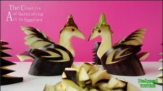 Art In Eggplant Swan Bird - Vegetable Carving Garnish