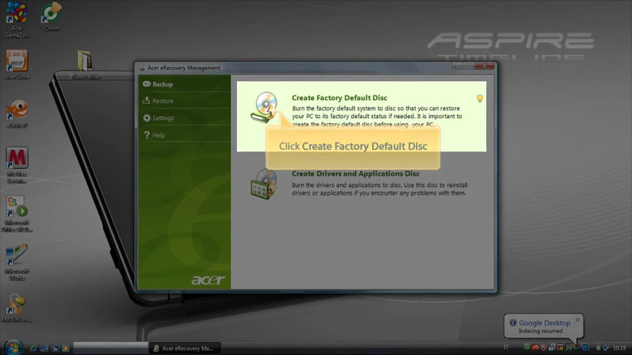 create recovery disc acer